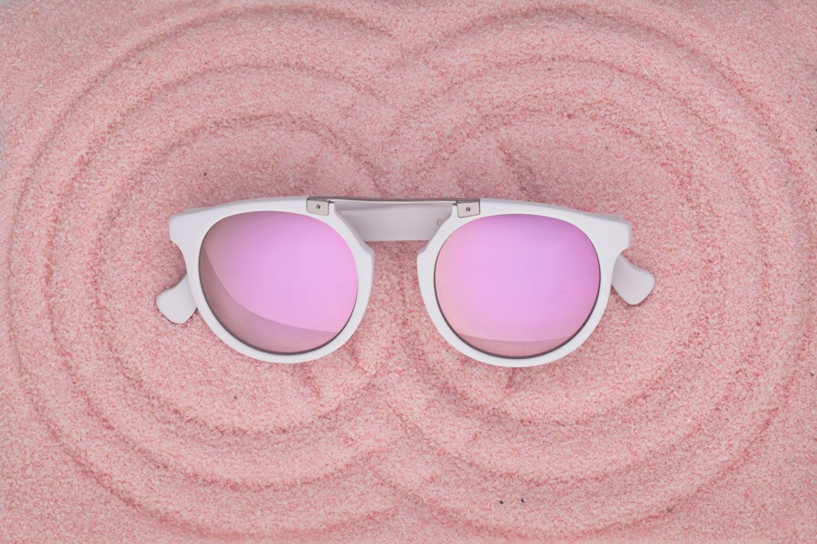 PINK Owl Eyes Sunglasses in Pink Sand
